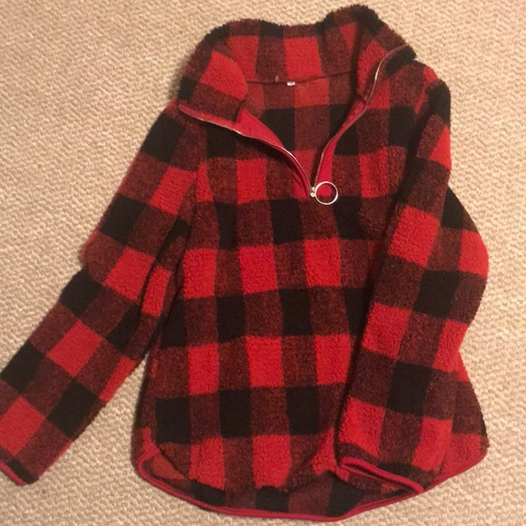 Sweaters - Red plaid Sherpa pullover